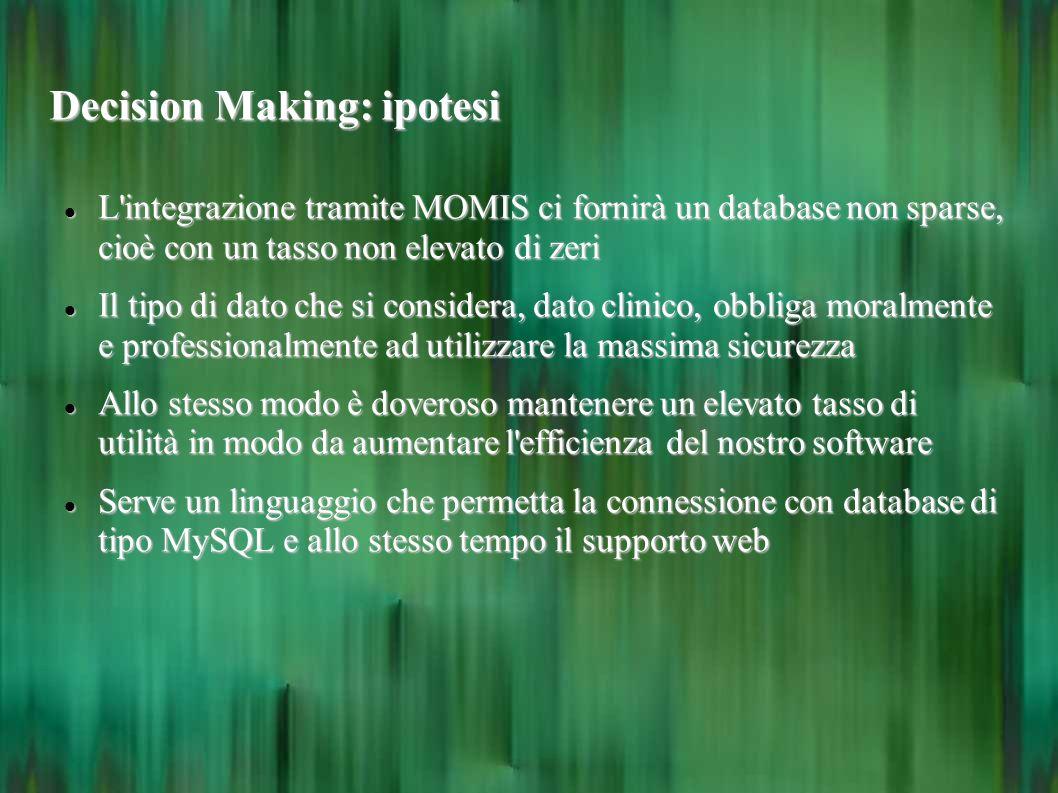Decision Making: ipotesi L'integrazione tramite MOMIS ci fornirà un database non sparse, cioè con un tasso non elevato di zeri L'integrazione tramite