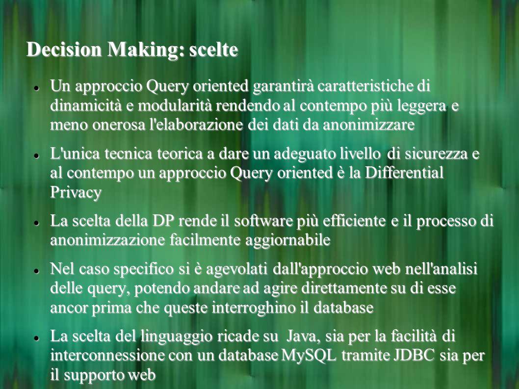 Decision Making: scelte Un approccio Query oriented garantirà caratteristiche di dinamicità e modularità rendendo al contempo più leggera e meno onero