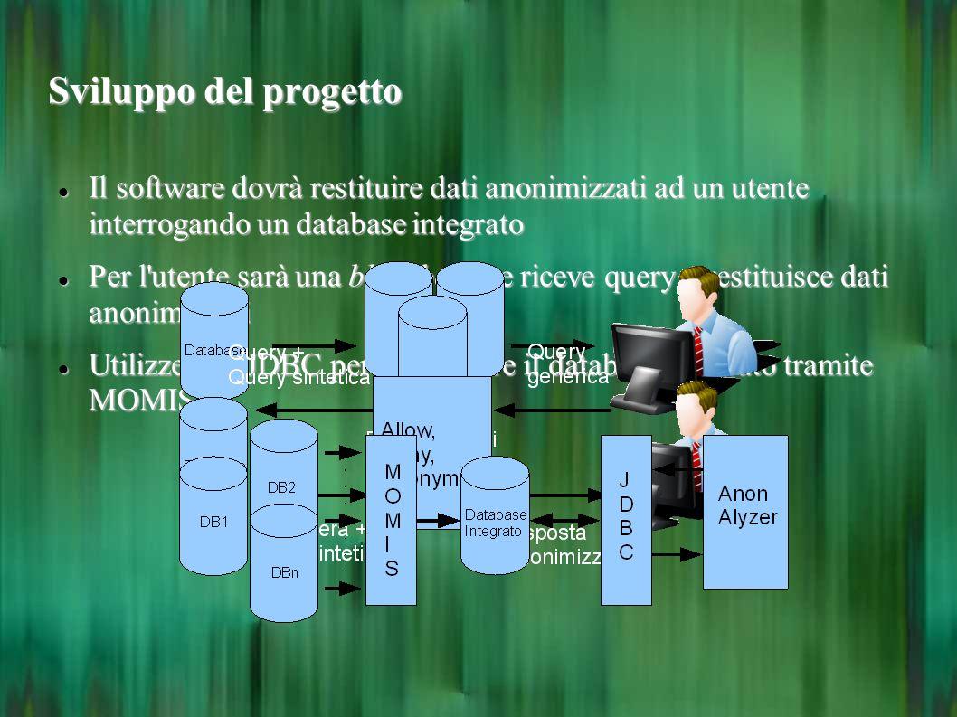 Sviluppo del progetto Il software dovrà restituire dati anonimizzati ad un utente interrogando un database integrato Il software dovrà restituire dati