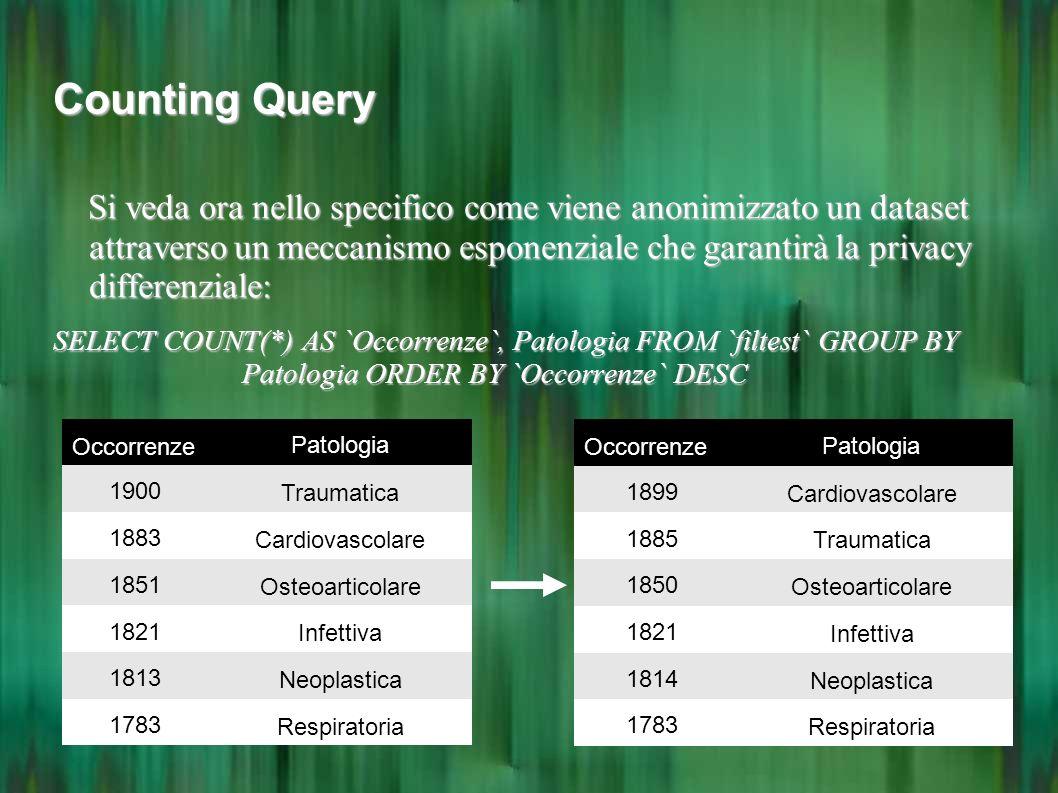 Counting Query Si veda ora nello specifico come viene anonimizzato un dataset attraverso un meccanismo esponenziale che garantirà la privacy differenz