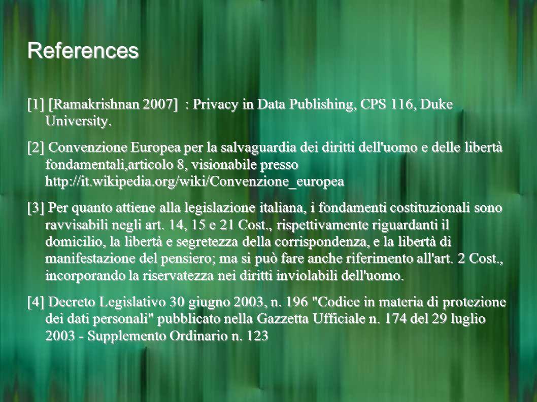 References [1] [Ramakrishnan 2007] : Privacy in Data Publishing, CPS 116, Duke University. [2] Convenzione Europea per la salvaguardia dei diritti del