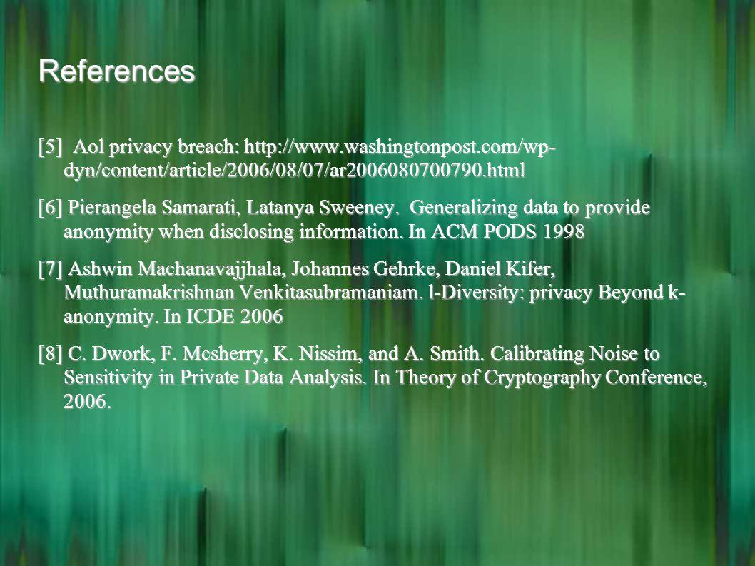 References [5] Aol privacy breach: http://www.washingtonpost.com/wp- dyn/content/article/2006/08/07/ar2006080700790.html [6] Pierangela Samarati, Lata