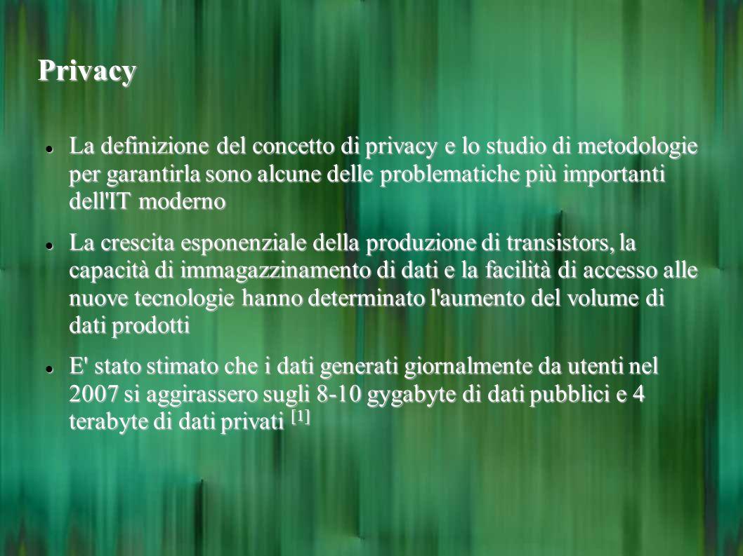 Privacy La definizione del concetto di privacy e lo studio di metodologie per garantirla sono alcune delle problematiche più importanti dell'IT modern