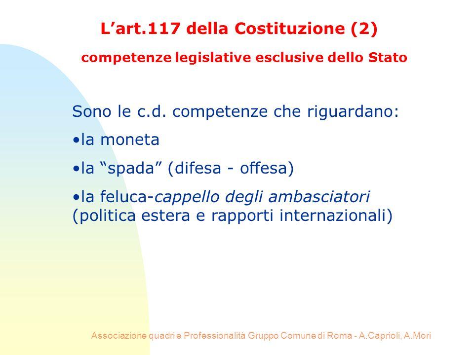 Associazione quadri e Professionalità Gruppo Comune di Roma - A.Caprioli, A.Mori Lart.117 della Costituzione (2) competenze legislative esclusive dell