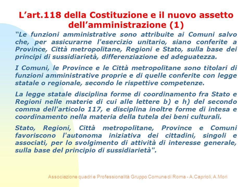 Associazione quadri e Professionalità Gruppo Comune di Roma - A.Caprioli, A.Mori Le funzioni amministrative sono attribuite ai Comuni salvo che, per a