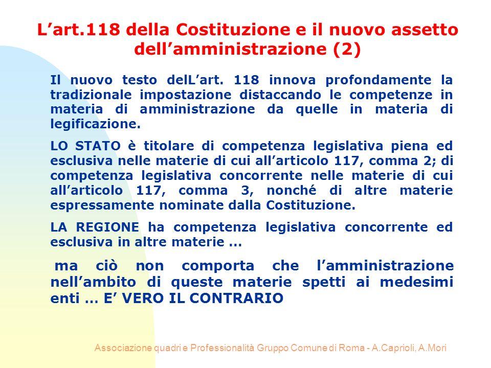 Associazione quadri e Professionalità Gruppo Comune di Roma - A.Caprioli, A.Mori Il nuovo testo delLart. 118 innova profondamente la tradizionale impo