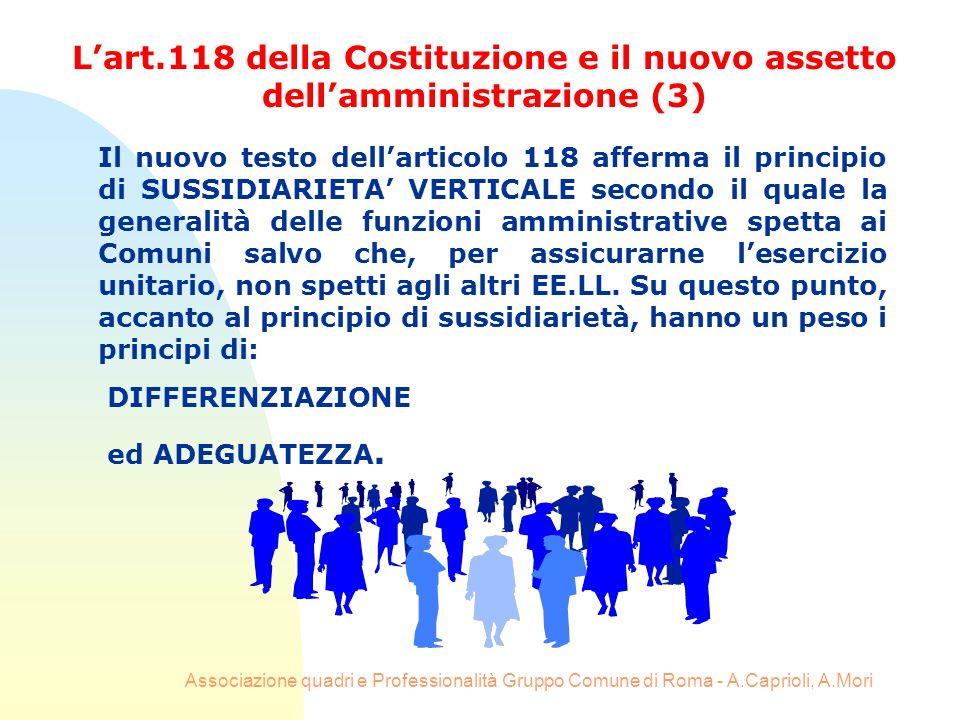 Associazione quadri e Professionalità Gruppo Comune di Roma - A.Caprioli, A.Mori Il nuovo testo dellarticolo 118 afferma il principio di SUSSIDIARIETA