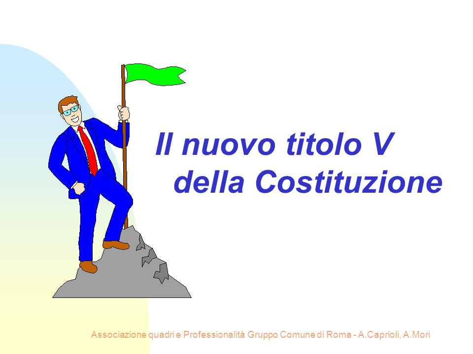 Associazione quadri e Professionalità Gruppo Comune di Roma - A.Caprioli, A.Mori Il nuovo titolo V della Costituzione