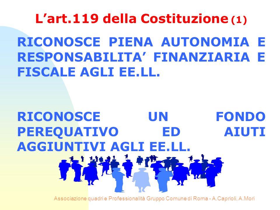 Associazione quadri e Professionalità Gruppo Comune di Roma - A.Caprioli, A.Mori Lart.119 della Costituzione (1) RICONOSCE PIENA AUTONOMIA E RESPONSAB