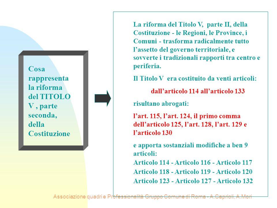 Associazione quadri e Professionalità Gruppo Comune di Roma - A.Caprioli, A.Mori Cosa rappresenta la riforma del TITOLO V, parte seconda, della Costit