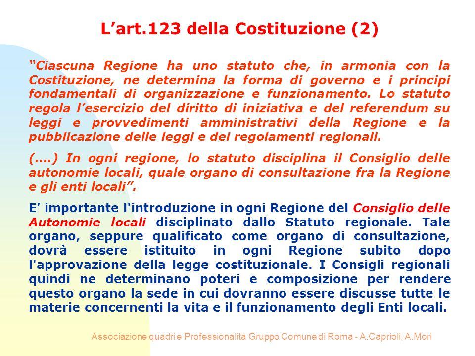 Associazione quadri e Professionalità Gruppo Comune di Roma - A.Caprioli, A.Mori Lart.123 della Costituzione (2) Ciascuna Regione ha uno statuto che,
