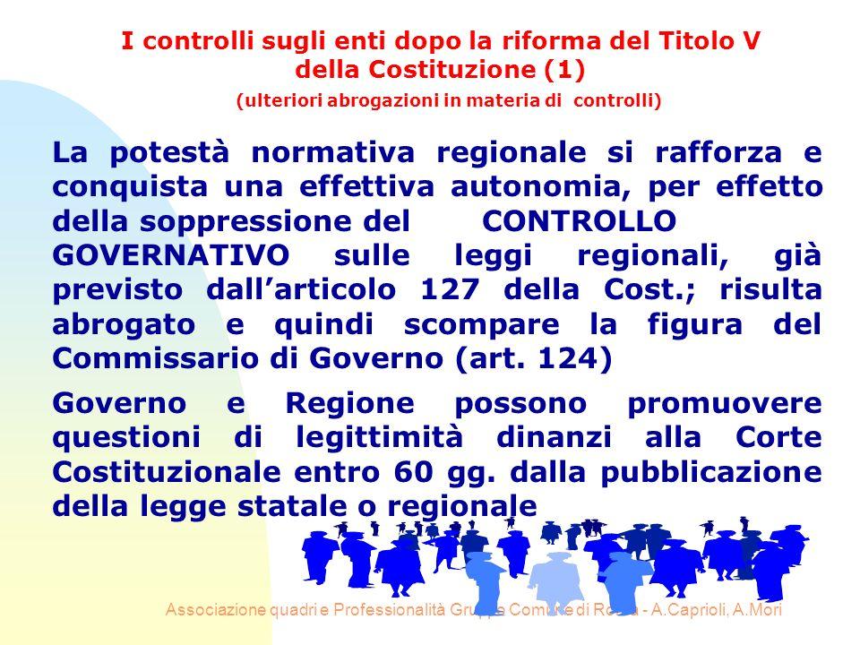 Associazione quadri e Professionalità Gruppo Comune di Roma - A.Caprioli, A.Mori La potestà normativa regionale si rafforza e conquista una effettiva