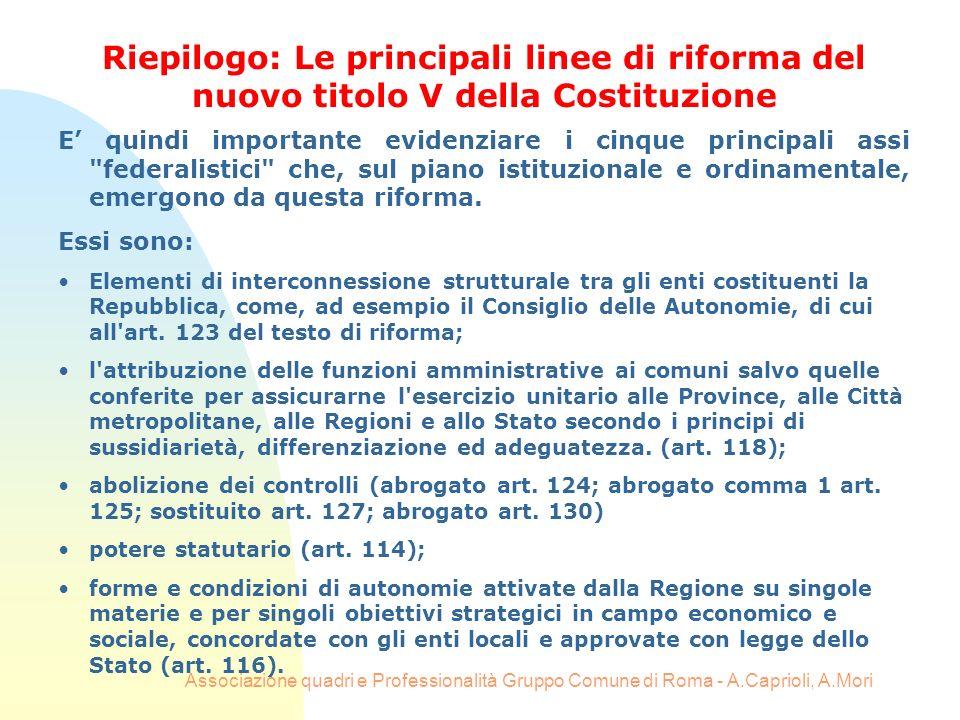 Associazione quadri e Professionalità Gruppo Comune di Roma - A.Caprioli, A.Mori E quindi importante evidenziare i cinque principali assi