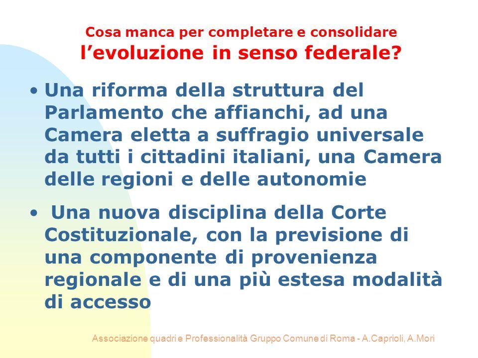 Associazione quadri e Professionalità Gruppo Comune di Roma - A.Caprioli, A.Mori Una riforma della struttura del Parlamento che affianchi, ad una Came