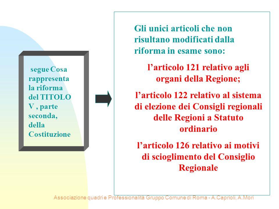 Associazione quadri e Professionalità Gruppo Comune di Roma - A.Caprioli, A.Mori segue Cosa rappresenta la riforma del TITOLO V, parte seconda, della