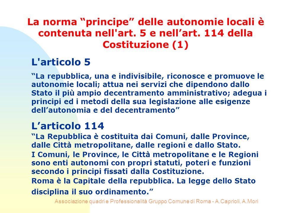 Associazione quadri e Professionalità Gruppo Comune di Roma - A.Caprioli, A.Mori L'articolo 5 La repubblica, una e indivisibile, riconosce e promuove