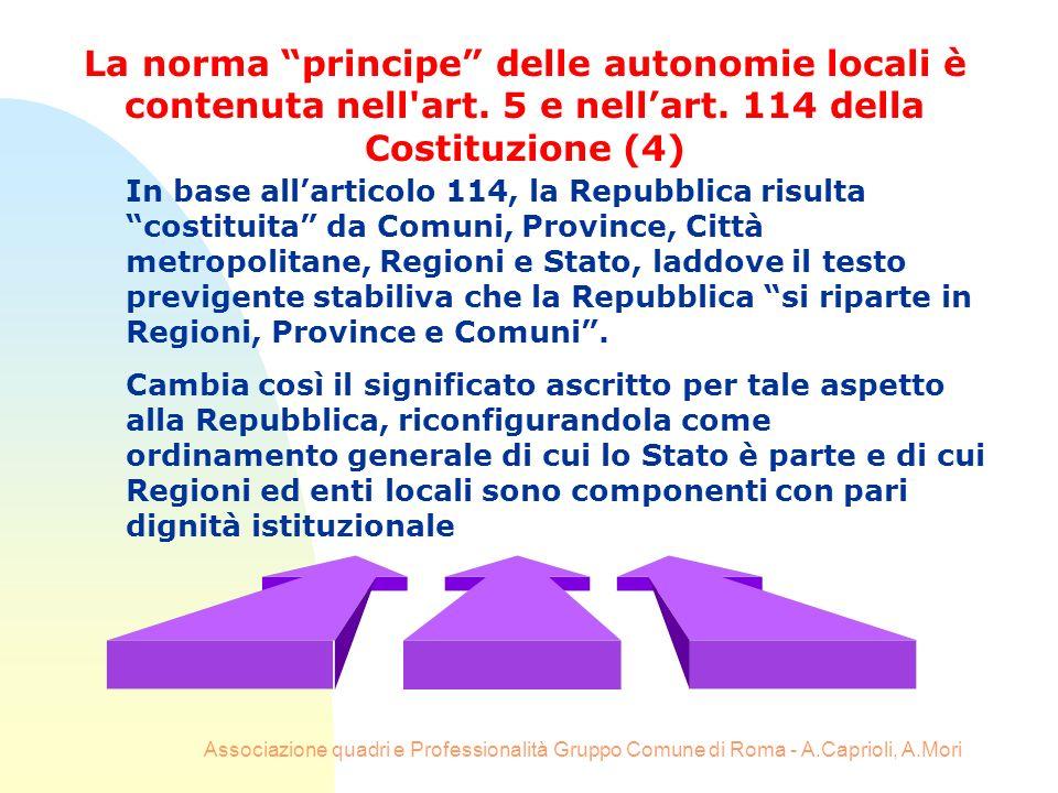 Associazione quadri e Professionalità Gruppo Comune di Roma - A.Caprioli, A.Mori In base allarticolo 114, la Repubblica risulta costituita da Comuni,