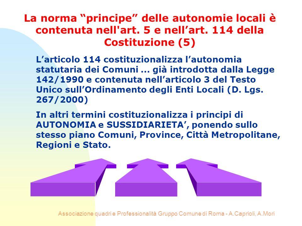 Associazione quadri e Professionalità Gruppo Comune di Roma - A.Caprioli, A.Mori Larticolo 114 costituzionalizza lautonomia statutaria dei Comuni... g