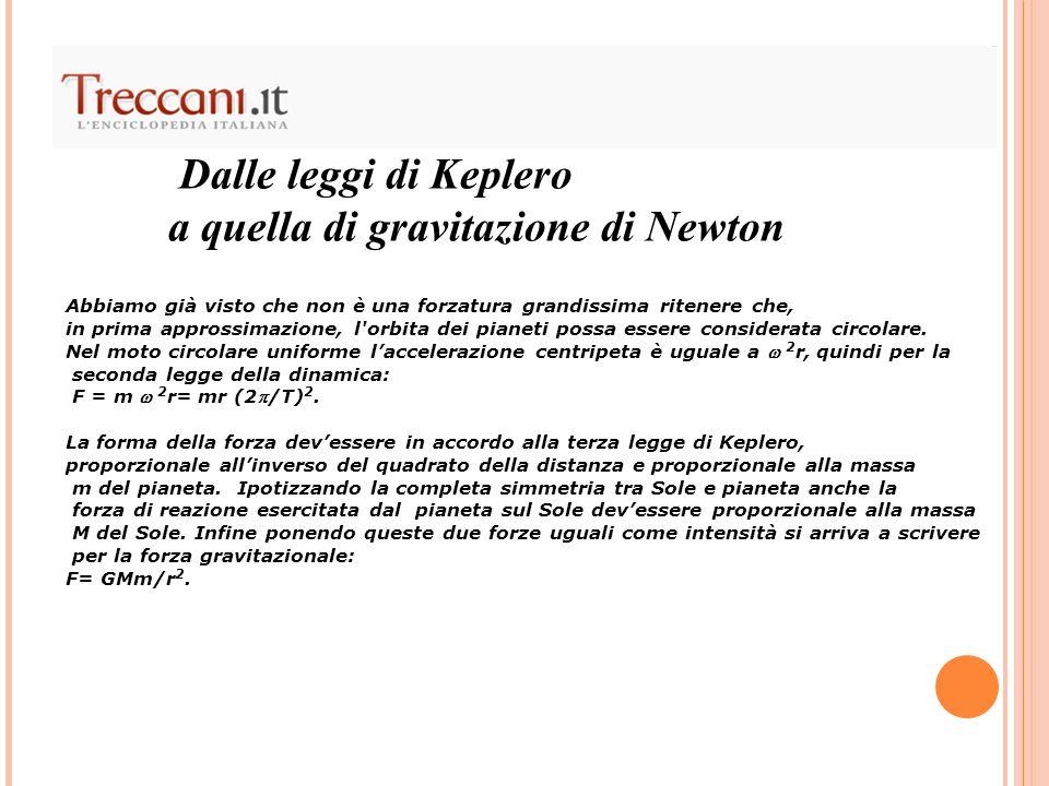 Dalle leggi di Keplero a quella di gravitazione di Newton Abbiamo già visto che non è una forzatura grandissima ritenere che, in prima approssimazione