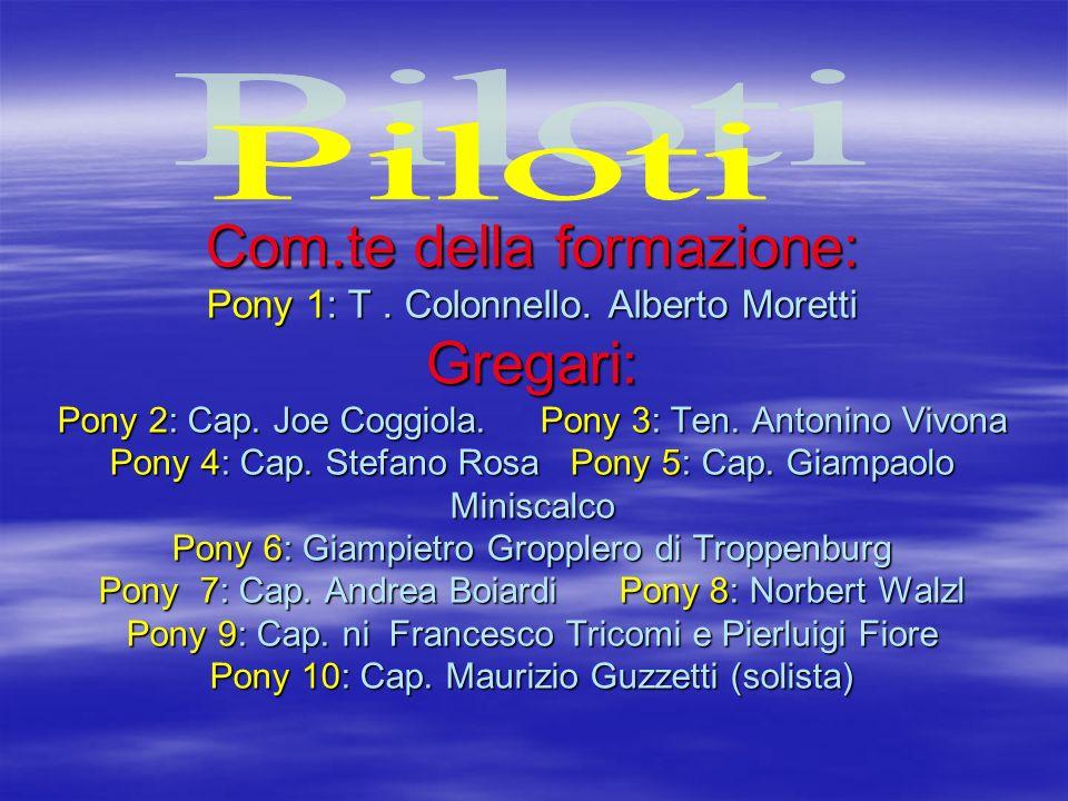 Com.te della formazione: Pony 1: T. Colonnello. Alberto Moretti Gregari: Pony 2: Cap. Joe Coggiola. Pony 3: Ten. Antonino Vivona Pony 4: Cap. Stefano