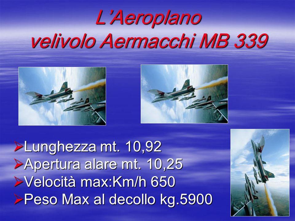 LAeroplano velivolo Aermacchi MB 339 Lunghezza mt. 10,92 Lunghezza mt. 10,92 Apertura alare mt. 10,25 Apertura alare mt. 10,25 Velocità max:Km/h 650 V