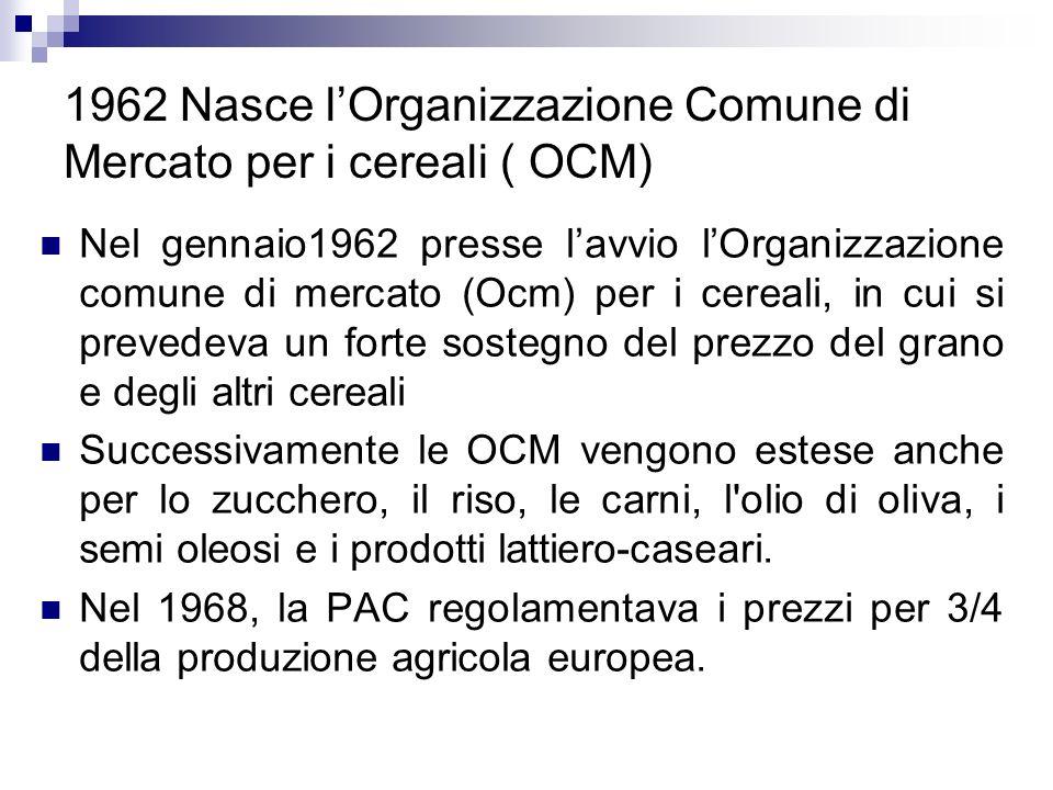 1962 Nasce lOrganizzazione Comune di Mercato per i cereali ( OCM) Nel gennaio1962 presse lavvio lOrganizzazione comune di mercato (Ocm) per i cereali,