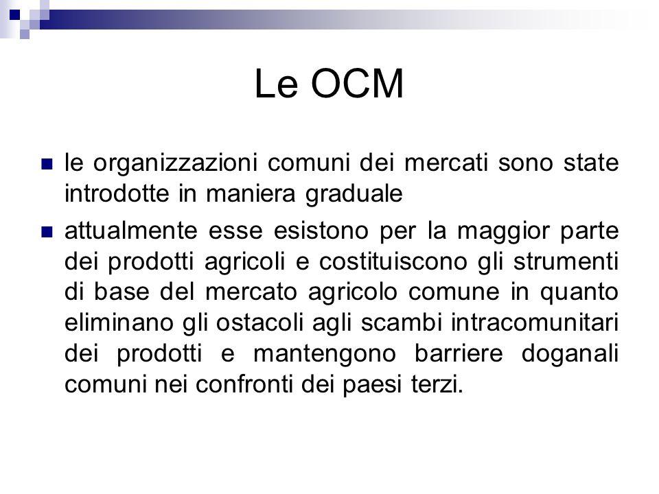 Le OCM le organizzazioni comuni dei mercati sono state introdotte in maniera graduale attualmente esse esistono per la maggior parte dei prodotti agri
