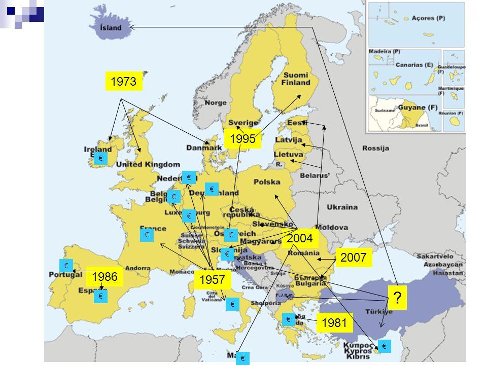 Adesione dei paesi alla Comunità Europea Lingresso dei PAESI che si sono aggiunti a quelli a quelli del trattato di Roma del 1957 ( 6 paesi ) è avvenuto gradualmente nellarco di 50 anni I primi paesi che hanno aderito alla Comunità Europea sono stati la Gran Bretagna, lIrlanda e la Danimarca nel 1973 cioè dopo 16 anni dalla sua costituzione.