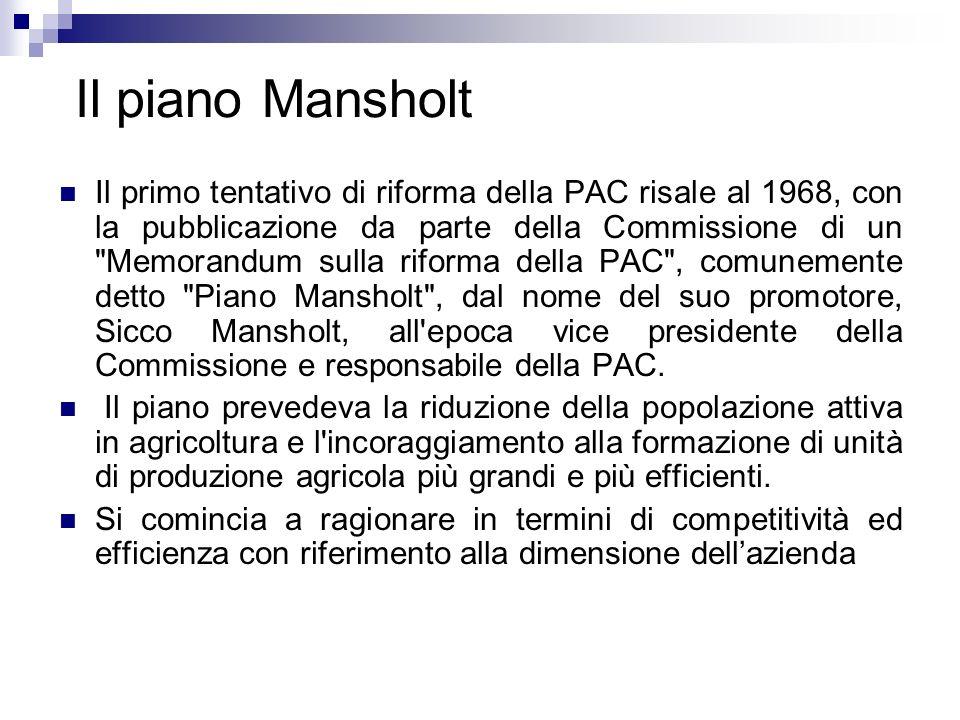 Il piano Mansholt Il primo tentativo di riforma della PAC risale al 1968, con la pubblicazione da parte della Commissione di un