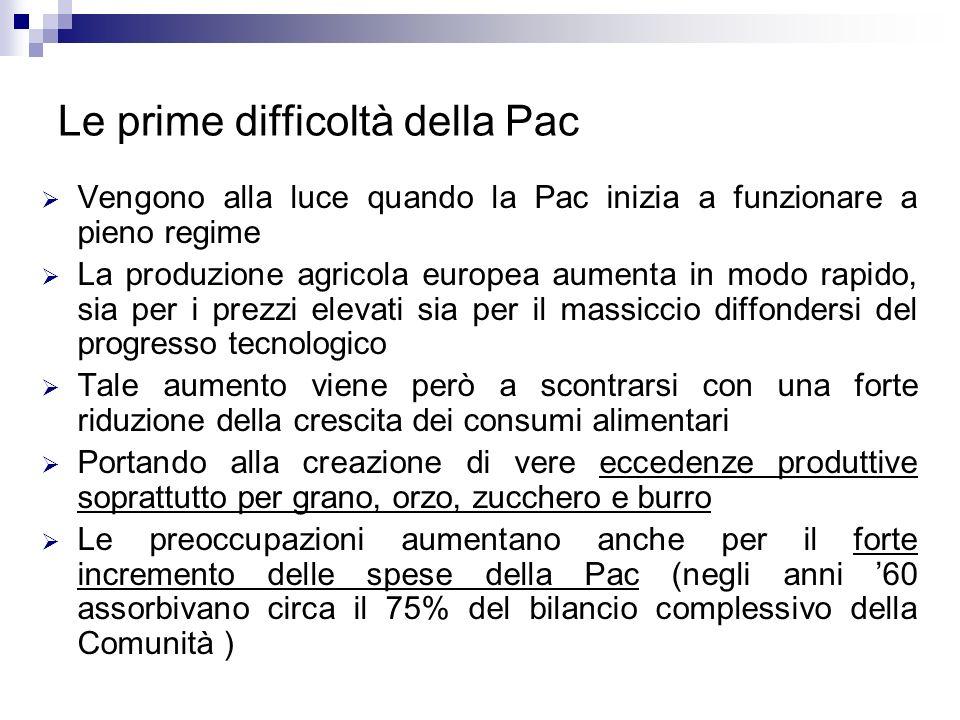 Le prime difficoltà della Pac Vengono alla luce quando la Pac inizia a funzionare a pieno regime La produzione agricola europea aumenta in modo rapido