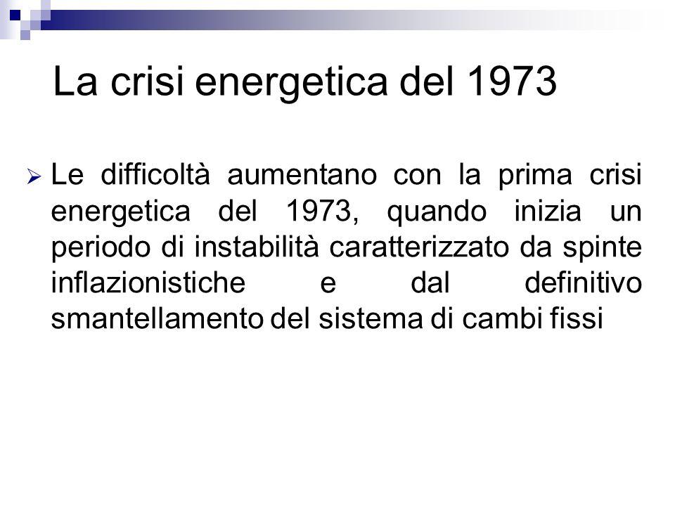 Le difficoltà aumentano con la prima crisi energetica del 1973, quando inizia un periodo di instabilità caratterizzato da spinte inflazionistiche e da