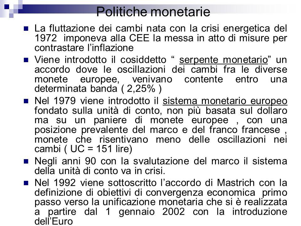 Politiche monetarie La fluttazione dei cambi nata con la crisi energetica del 1972 imponeva alla CEE la messa in atto di misure per contrastare linfla