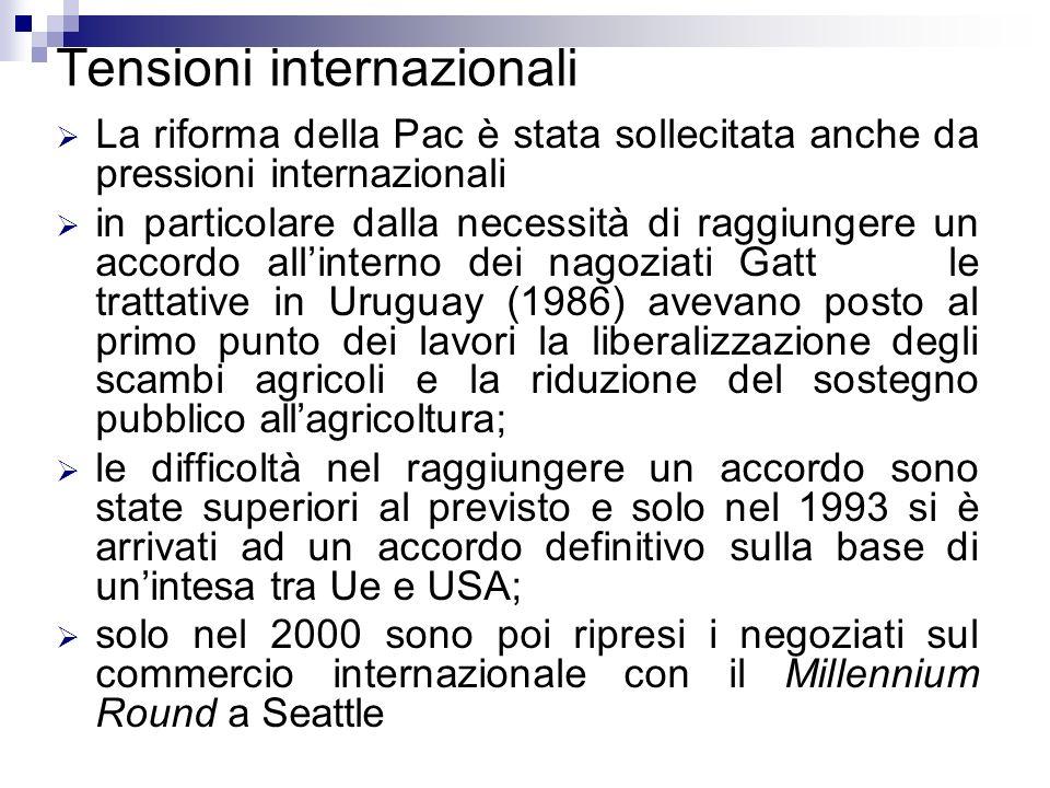 Tensioni internazionali La riforma della Pac è stata sollecitata anche da pressioni internazionali in particolare dalla necessità di raggiungere un ac