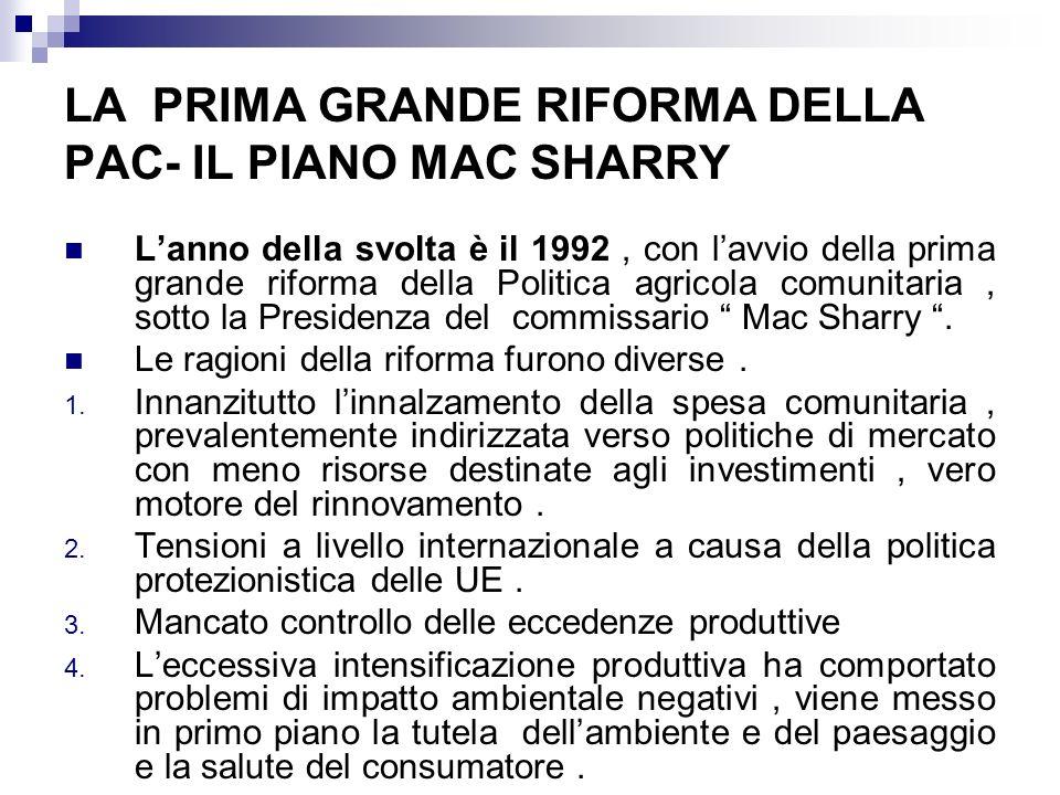 LA PRIMA GRANDE RIFORMA DELLA PAC- IL PIANO MAC SHARRY Lanno della svolta è il 1992, con lavvio della prima grande riforma della Politica agricola com