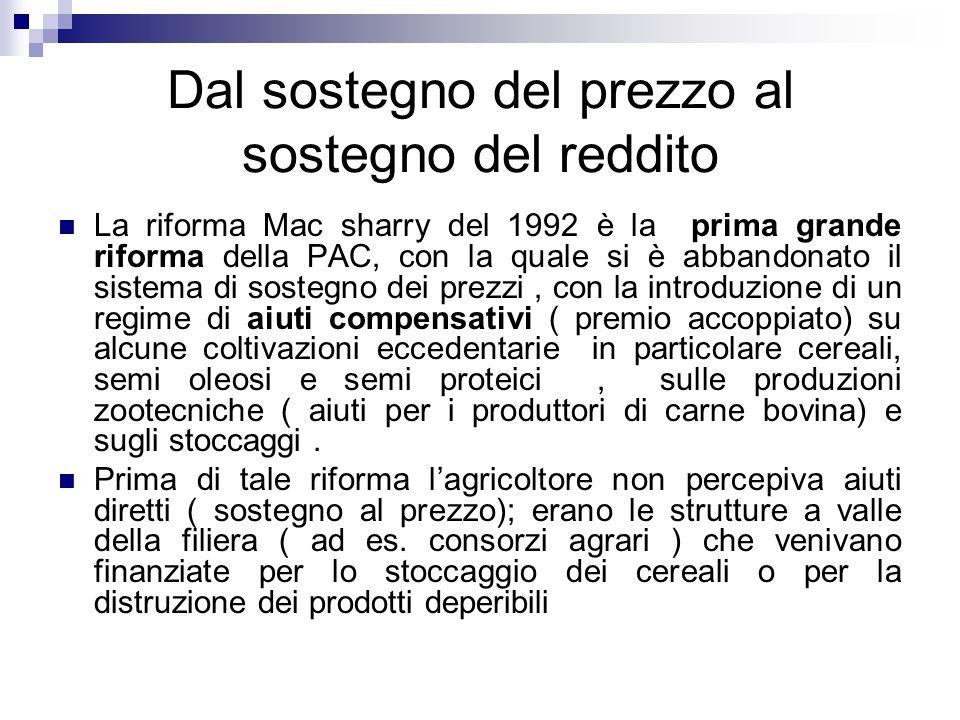 Dal sostegno del prezzo al sostegno del reddito La riforma Mac sharry del 1992 è la prima grande riforma della PAC, con la quale si è abbandonato il s