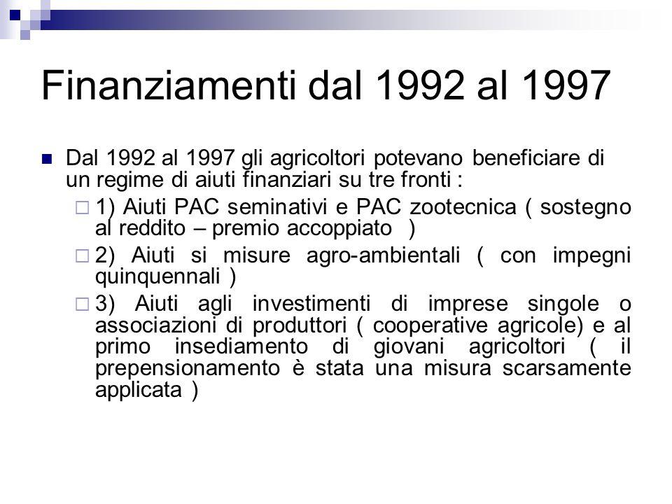 Finanziamenti dal 1992 al 1997 Dal 1992 al 1997 gli agricoltori potevano beneficiare di un regime di aiuti finanziari su tre fronti : 1) Aiuti PAC sem