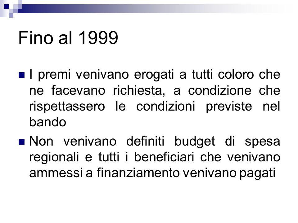 Fino al 1999 I premi venivano erogati a tutti coloro che ne facevano richiesta, a condizione che rispettassero le condizioni previste nel bando Non ve