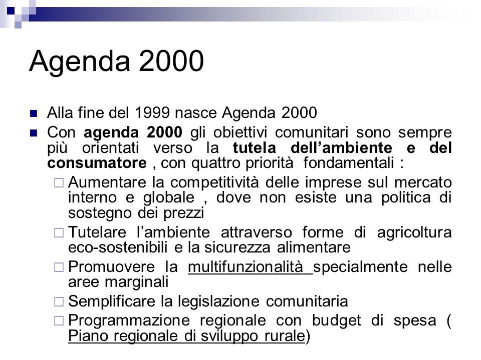 Agenda 2000 Alla fine del 1999 nasce Agenda 2000 Con agenda 2000 gli obiettivi comunitari sono sempre più orientati verso la tutela dellambiente e del