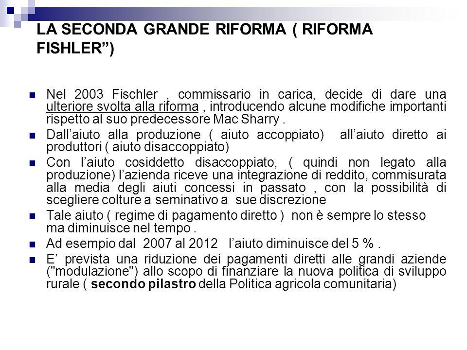 LA SECONDA GRANDE RIFORMA ( RIFORMA FISHLER) Nel 2003 Fischler, commissario in carica, decide di dare una ulteriore svolta alla riforma, introducendo