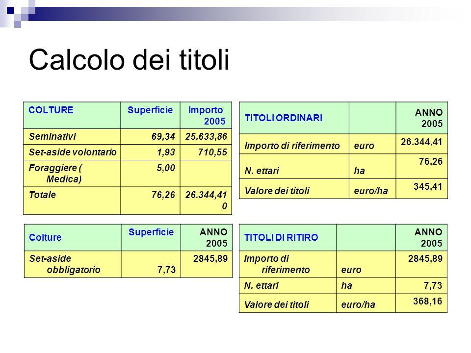 Calcolo dei titoli COLTURESuperficieImporto 2005 Seminativi69,3425.633,86 Set-aside volontario1,93710,55 Foraggiere ( Medica) 5,00 Totale76,2626.344,4