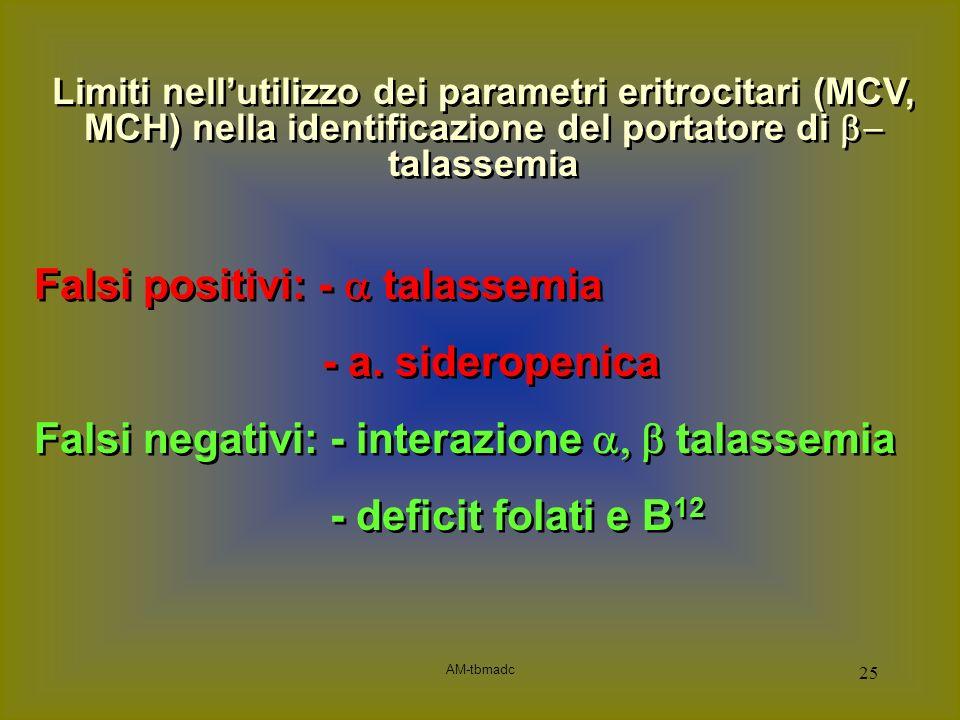 AM-tbmadc 25 Falsi positivi: - talassemia - a. sideropenica Falsi negativi: - interazione talassemia - deficit folati e B 12 Falsi positivi: - talasse