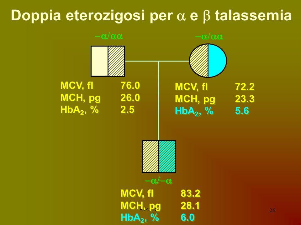AM-tbmadc 26 MCV, fl76.0 MCH, pg26.0 HbA 2, %2.5 MCV, fl76.0 MCH, pg26.0 HbA 2, %2.5 MCV, fl72.2 MCH, pg23.3 HbA 2, %5.6 MCV, fl72.2 MCH, pg23.3 HbA 2