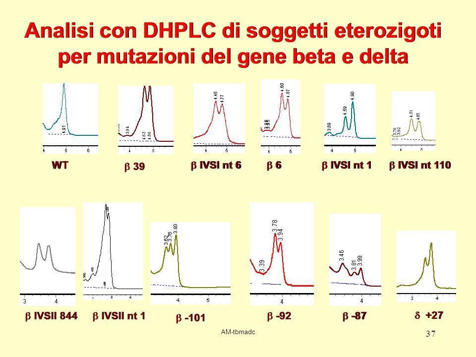 AM-tbmadc 37 WT 39 IVSI nt 6 6 6 IVSI nt 1 IVSI nt 110 IVSII nt 1 -101 -92 -87 IVSII 844 +27 Analisi con DHPLC di soggetti eterozigoti per mutazioni d