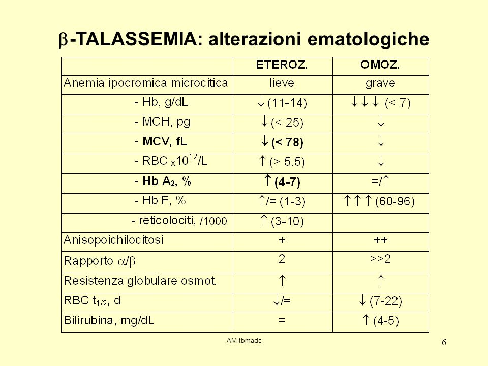 AM-tbmadc 6 -TALASSEMIA: alterazioni ematologiche