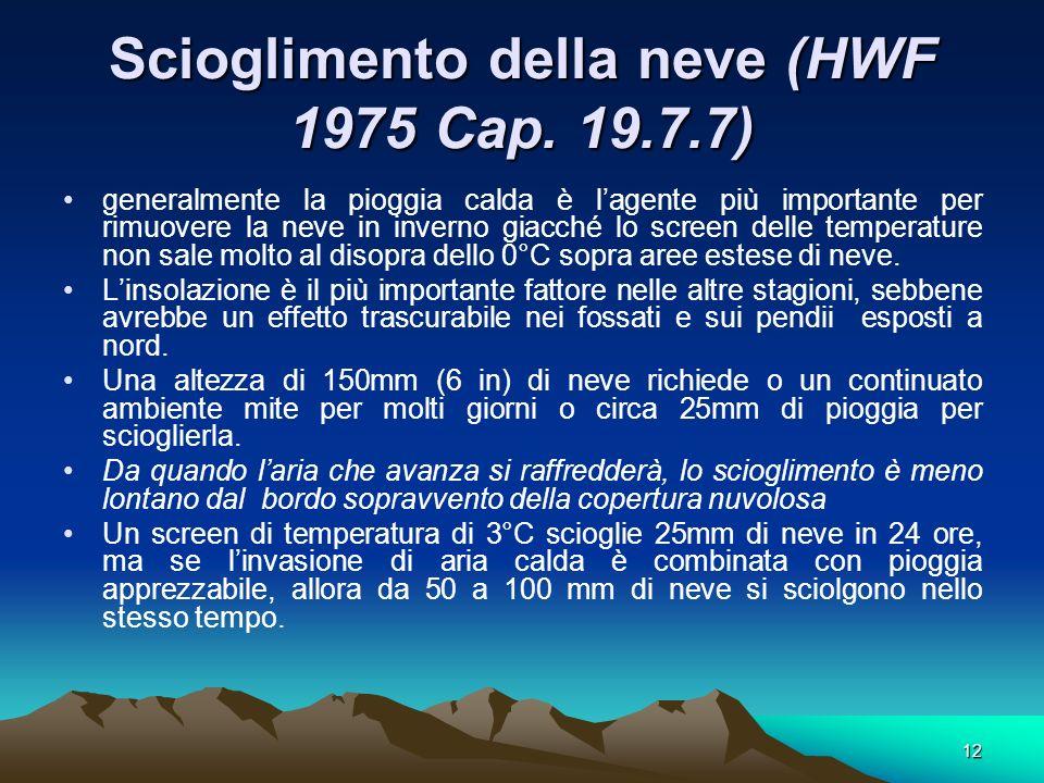 12 Scioglimento della neve (HWF 1975 Cap. 19.7.7) generalmente la pioggia calda è lagente più importante per rimuovere la neve in inverno giacché lo s