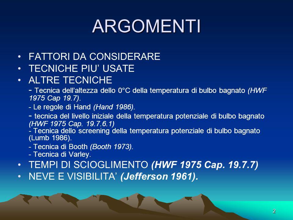 2 ARGOMENTI FATTORI DA CONSIDERARE TECNICHE PIU USATE ALTRE TECNICHE - Tecnica dellaltezza dello 0°C della temperatura di bulbo bagnato (HWF 1975 Cap