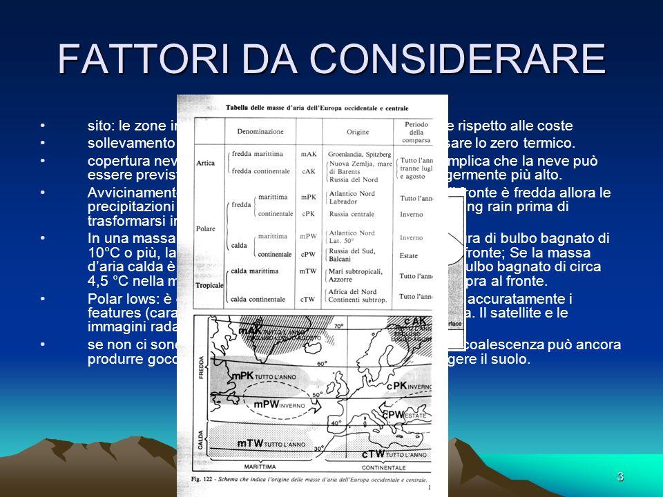 3 FATTORI DA CONSIDERARE sito: le zone interne elevate sono maggiormente favorite rispetto alle coste sollevamento orografico: può significativamente