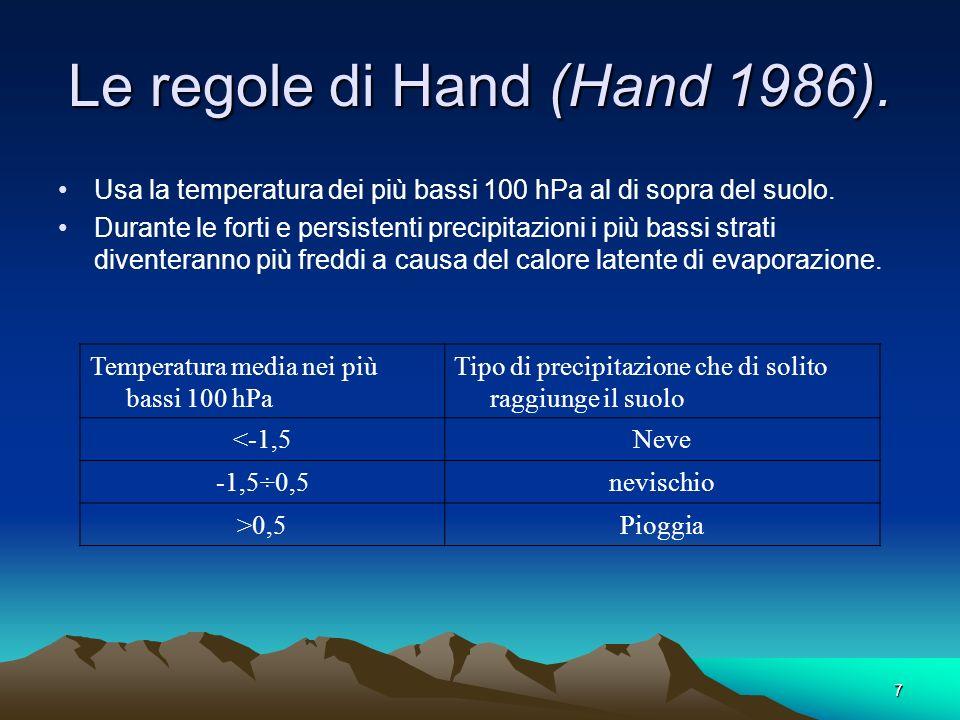 7 Le regole di Hand (Hand 1986). Usa la temperatura dei più bassi 100 hPa al di sopra del suolo. Durante le forti e persistenti precipitazioni i più b