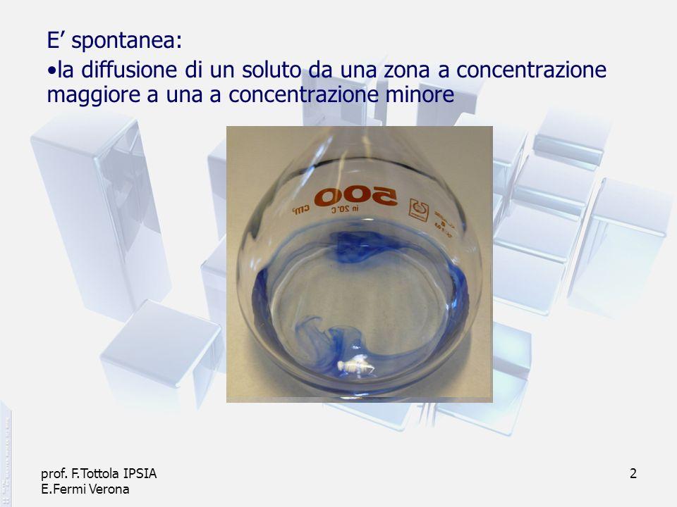 prof. F.Tottola IPSIA E.Fermi Verona 2 E spontanea: la diffusione di un soluto da una zona a concentrazione maggiore a una a concentrazione minore