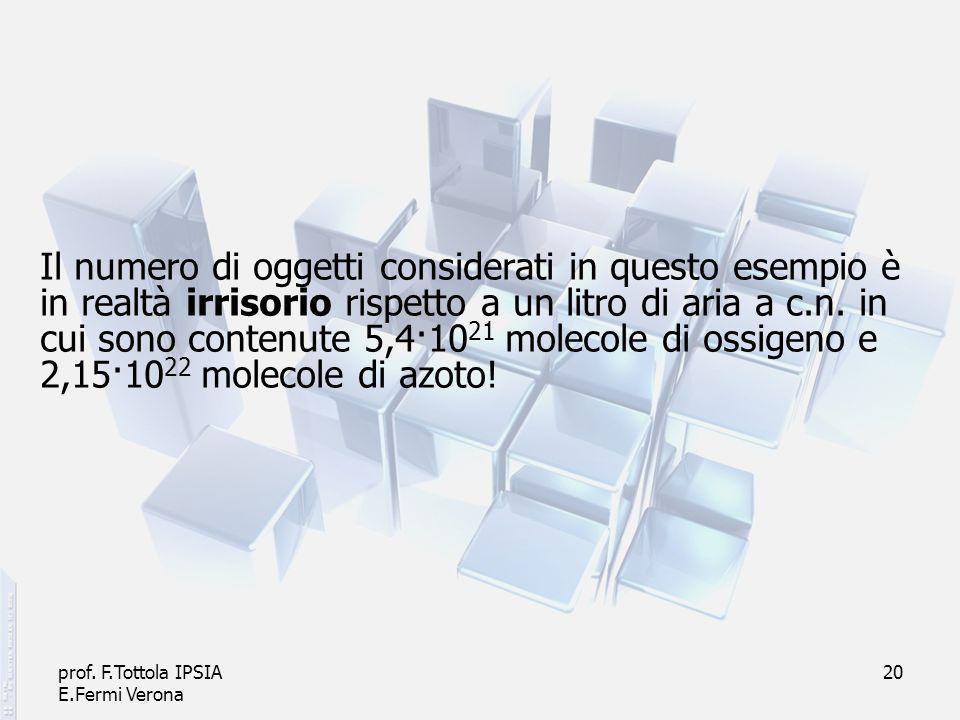 prof. F.Tottola IPSIA E.Fermi Verona 20 Il numero di oggetti considerati in questo esempio è in realtà irrisorio rispetto a un litro di aria a c.n. in